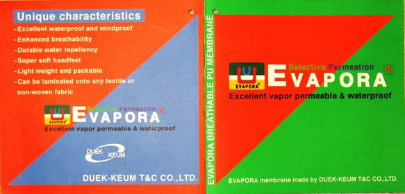 6e099b510 В производстве наших изделий из мембранных тканей используется  сертифицированная мембрана EvaPora® корейского производителя DUEK_KEUM T&C  CO.,LTD.